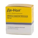 Де-нол таб п/о 120мг №112 (Висмута трикалия дицитрат)*